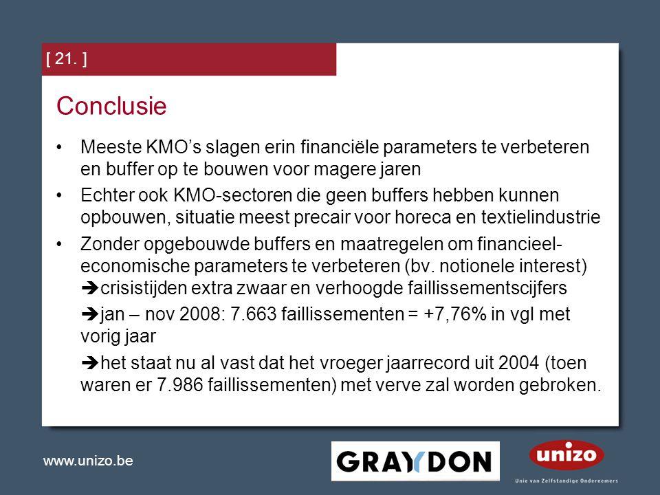 [ 21. ] Conclusie. Meeste KMO's slagen erin financiële parameters te verbeteren en buffer op te bouwen voor magere jaren.